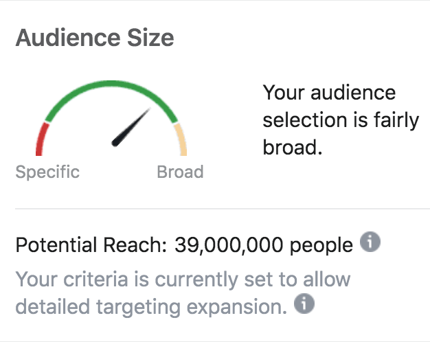 Audience Size Facebook Ads