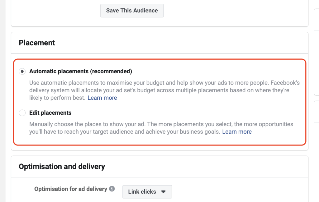 Facebook Ads Choose Automatic Placements or Edit Placements