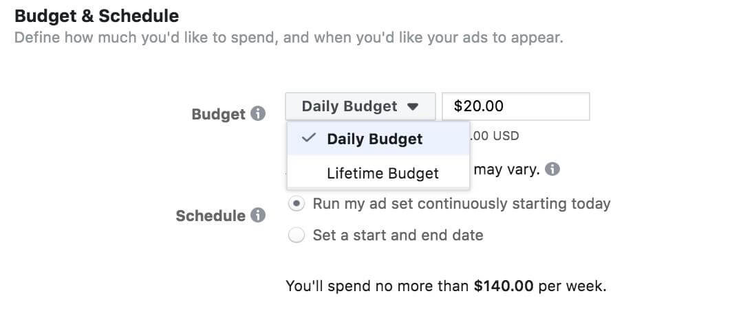 Facebook Ads Choose Daily Budget or Lifetime Budget
