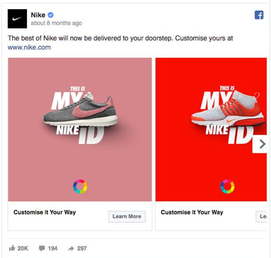 Nike Facebook Ads Example for E-Commerce